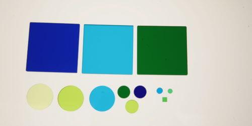 Hoya Filters Blue & Green Colour Glass Custom